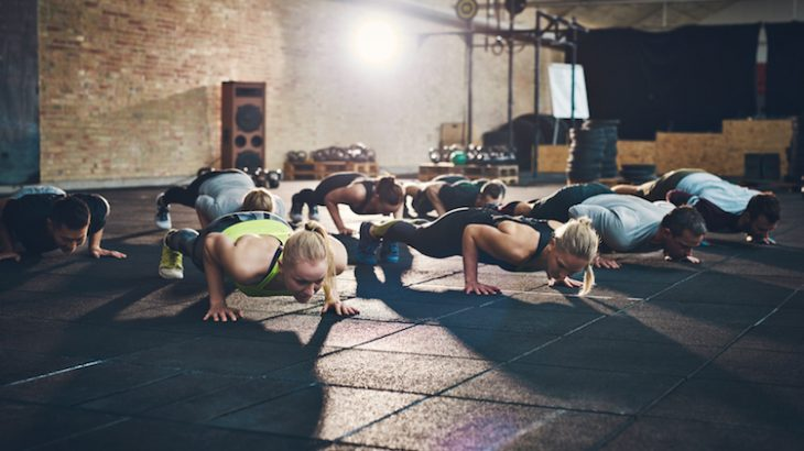 group fitness pushup
